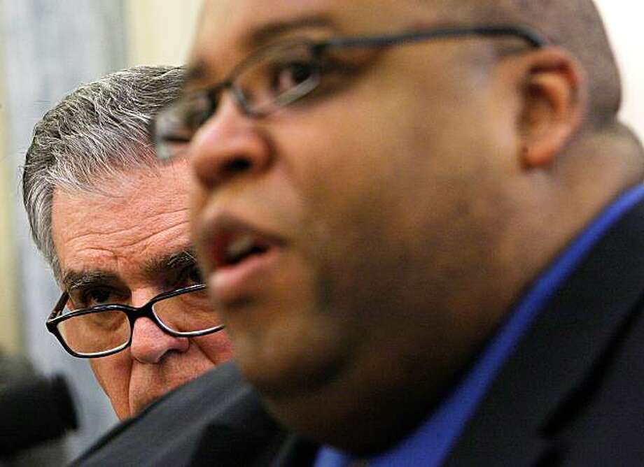 WASHINGTON - MARCH 02:  U.S. National Highway Traffic Safety Administration Administrator David Strickland (R) speaks as Secretary of Transportation Ray LaHood (L) looks on during a hearing on the recall of Toyota before the Senate Commerce, Science and Transportation Committee March 2, 2010 on Capitol Hill in Washington, DC. Three top officials of Toyota will testify for the second panel of hearing to answer questions from legislators on the recall and safety records of auto maker. Photo: Alex Wong, Getty Images