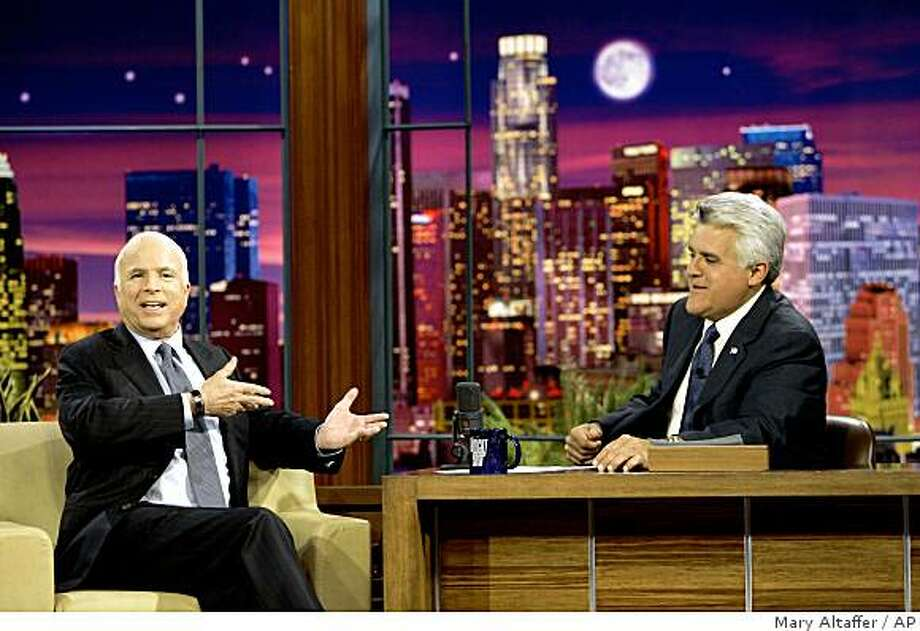 "Republican presidential candidate, Sen. John McCain, R-Ariz., left, makes an appearance on ""The Tonight Show with Jay Leno""  Monday, Aug. 25, 2008, in Burbank, Calif.  (AP Photo/Mary Altaffer) Photo: Mary Altaffer, AP"
