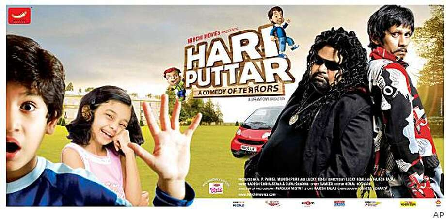 """In this photo provided by Mirchi Movies Limited and made available on Tuesday, Aug. 26, 2008, a poster of  Bollywood's 'Hari Puttar' film shows Zain Khan, left, Swini Khara, second left, Vijay Raaz, right and an unidentified actor.  Bollywood producers set to release a film called """"Hari Puttar: A Comedy of Terrors"""" are working to fend off a lawsuit filed by Warner Bros. that claims the movie title hews too closely to their mega-famous boy wizard franchise. While Bollywood films often borrow liberally from Western movies, producers of """"Hari Puttar: A Comedy of Terrors"""" say their movie bears no resemblance to any film in the """"Harry Potter"""" series. (AP Photo) ** NO SALES ** Photo: AP"""