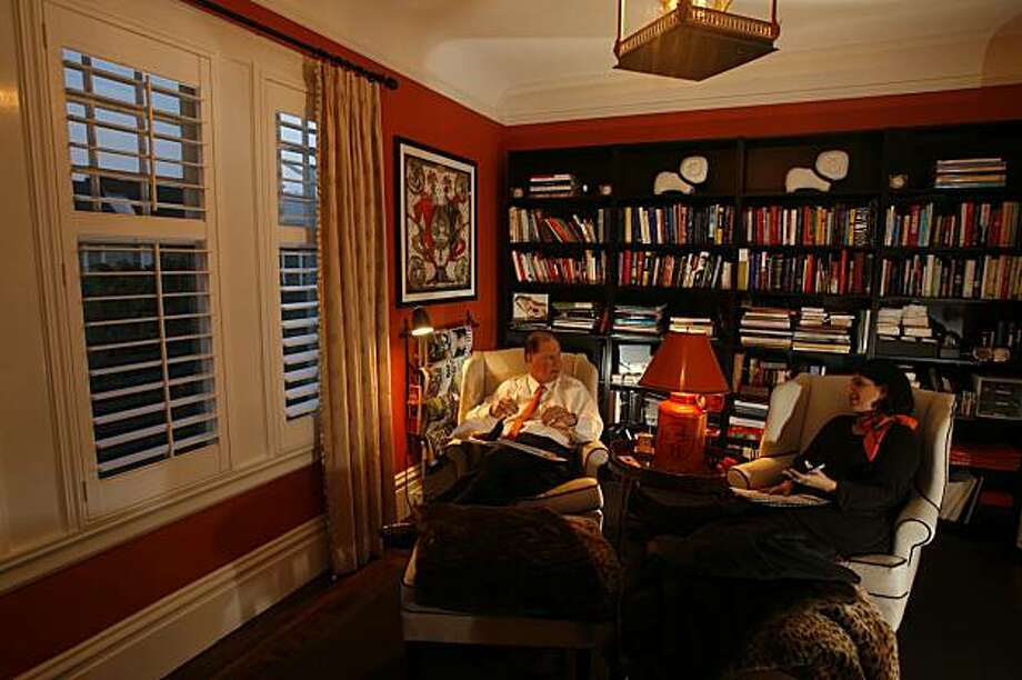 hermes_remodel_237_el.jpg In the Hermes room inspired by the lamp in between the Grotts who are also decked out in Hermes scarfs and ties. Lisa and John Grotts home.  Eric Luse / The Chronicle  Photo taken on 1/15/08, in San Francisco, CA, USA Name cq by source Lisa and John Grotts Photo: Eric Luse, The Chronicle