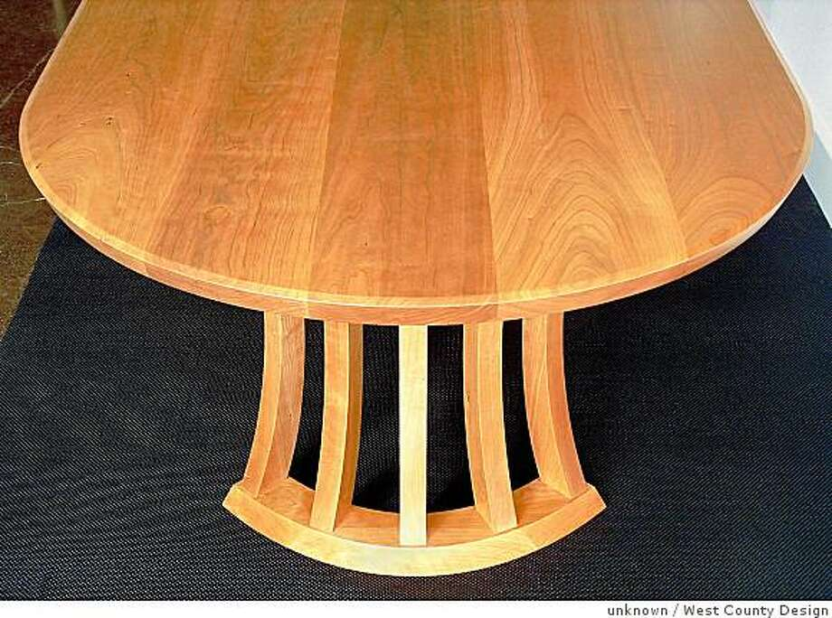 oval table in cherry by Craig Collins, at West County Design, Valley Ford Photo: Unknown, West County Design