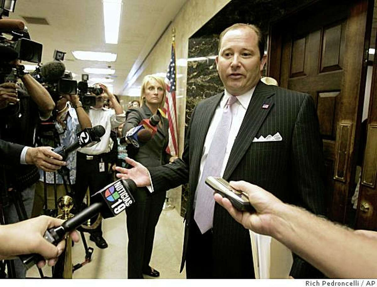 Assembly Minority Leader Mike Villines, R-Clovis, right, talks to reporters after meeting with Gov. Arnold Schwarzenegger and fellow Legislative leaders, at the Capitol in Sacramento, Calif., Tuesday, Aug. 19, 2008. The meeting was held in an effort to reach a solution to the nearly eight-week old budget stalemate.(AP Photo/Rich Pedroncelli)