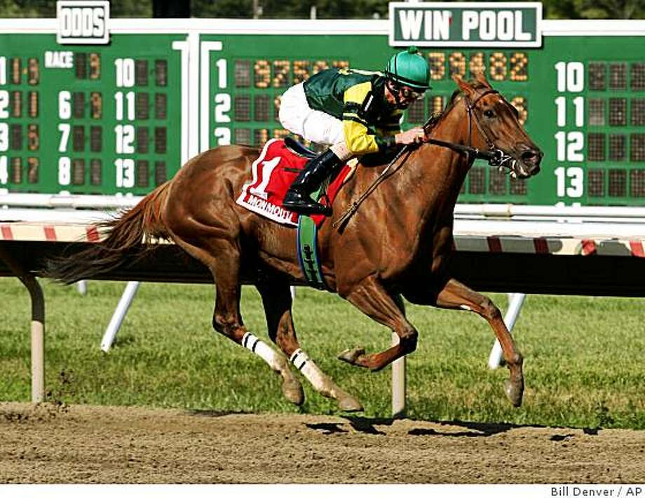 ** REMOVES NO SALES RESTRICTION **In this photo provided by Equi-Photo, Hystericalady, ridden by Robby Albarado wins the Molly Pitcher stakes at Monmouth Park in Oceanport, N.J. on Sunday, Aug. 24, 2008. (AP Photo/Equi-Photo, Bill Denver)  ** MAGS OUT ** Photo: Bill Denver, AP