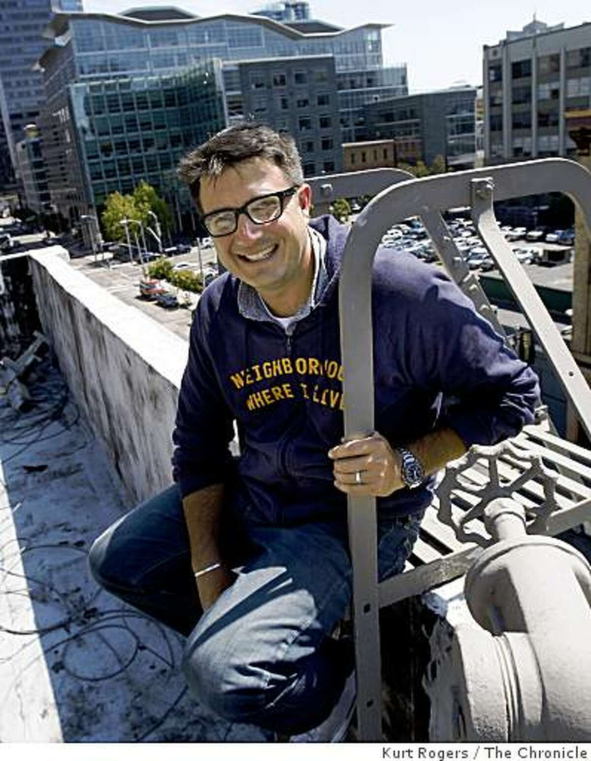 Will Rogers is the CEO of roofTop Comedy a web site that promotes stand-up comedians. on the roof of their office building on Thursday , Aug 14 2008 in San Francisco , Calif