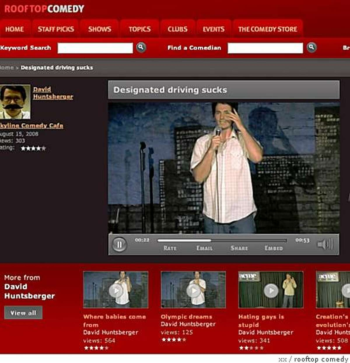 screenshot from the website rooftopcomedy.com, which is on the forefront of using online video