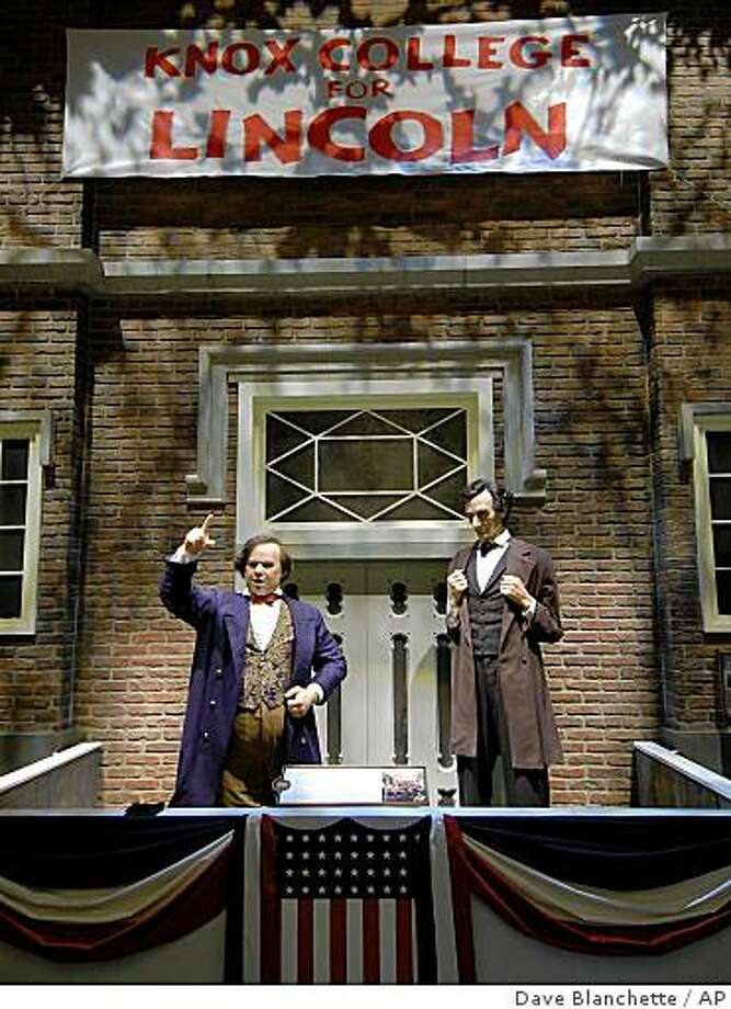 ** FOR USE WEEKEND EDITIONS, AUG 16-17 **This February 2005 photo shows an exhibit in the Abraham Lincoln Presidential Museum in Springfield, Ill., that re-created the debate 150 years ago between Stephen A. Douglas, left, and Abraham Lincoln, at Knox College in Galesburg, Ill.  (AP Photo/Abraham Lincoln Presidential Library and Museum) **NO SALES  ** Photo: Dave Blanchette, AP