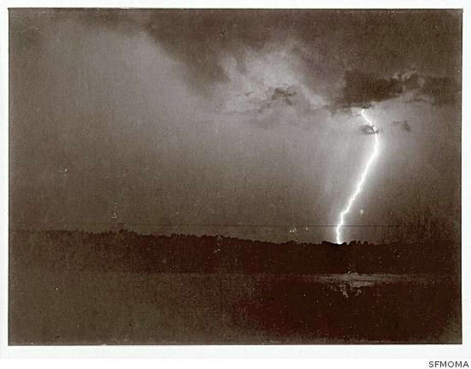 "A. H. Binden, ""Lightning""  ( 1888 )  Gelatin silver print, 6 x 8 in. (15.2 x 20.3 cm), Stephen White Collection II, Los Angeles.Part of the San Francisco Museum of Modern Art's exhibition ""Brought to Light: Photography and the Invisible"" opening Oct. 11, 2008. Photo: SFMOMA"