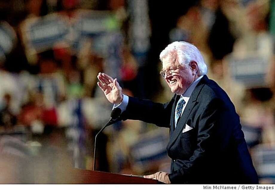 DENVER - AUGUST 25:  U.S. Sen. Edward Kennedy (D-MA) waves stage during day one of the Democratic National Convention (DNC) at the Pepsi Center August 25, 2008 in Denver, Colorado. The DNC, where U.S. Sen. Barack Obama (D-IL) will be officially nominated as the Democratic candidate for U.S. president, starts today and finishes August 28th.  (Photo by Win McNamee/Getty Images) Photo: Getty Images