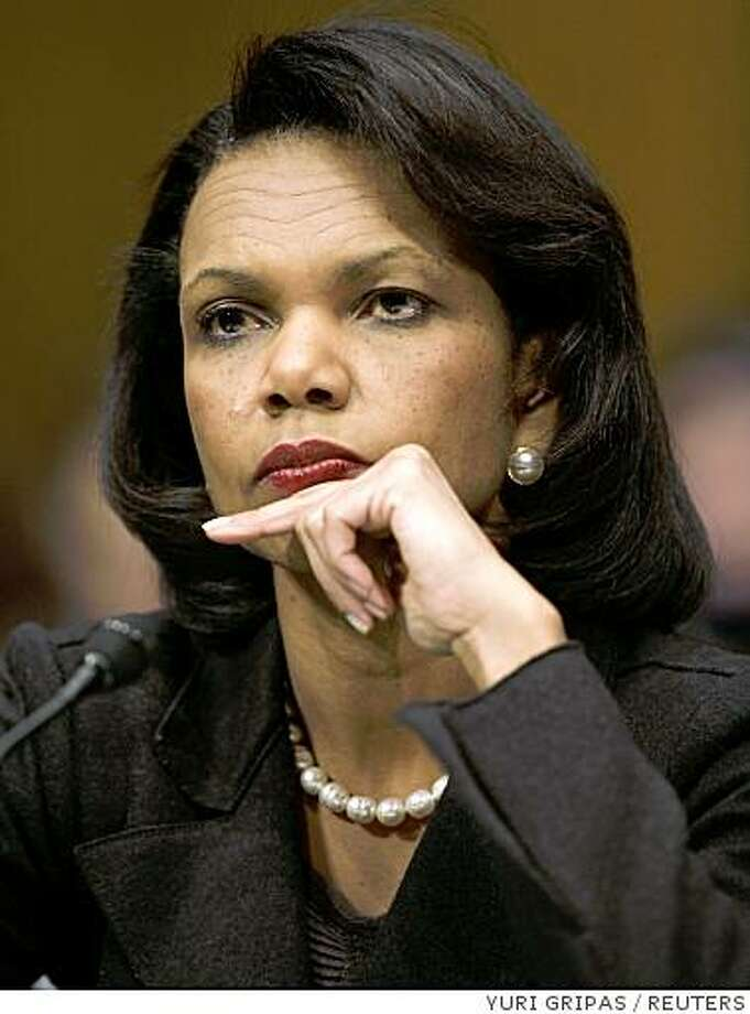 U.S. Secretary of State Condoleezza Rice testifies before the Senate Foreign Relations Committee on Capitol Hill in Washington, February 13, 2008, during a hearing on the President's Foreign Affairs Budget. REUTERS/Yuri Gripas (UNITED STATES) Photo: YURI GRIPAS, REUTERS