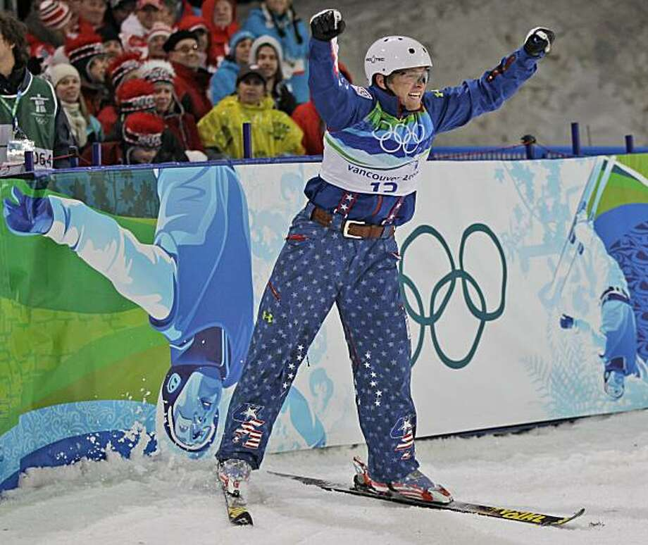 Olympic silver medalist Jeret Peterson of the USA reacts after his second jump in the men's freestyle skiing aerials final at the Vancouver 2010 Olympics in Vancouver, British Columbia, Thursday, Feb. 25, 2010. Photo: Marcio Sanchez, AP