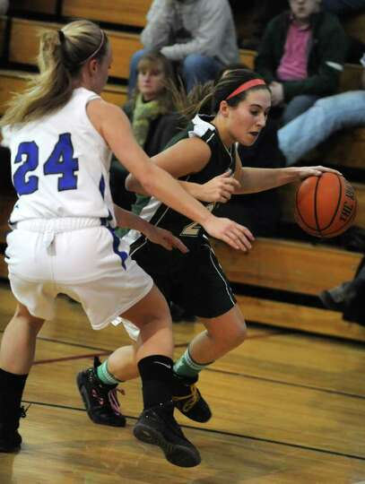 Dani DeGregory of Greenwich dribbles the ball as she's guarded by Rachel Moore of Hoosic Valley duri