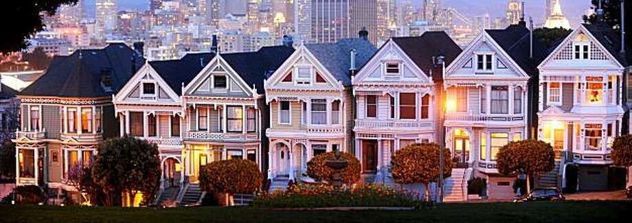 The Painted Ladies line Steiner Street at dusk on Saturday, Feb. 13, 2010, in San Francisco. Michael Shannon's Victorian, at far left, is for sale. Photo: Noah Berger, Special To The Chronicle