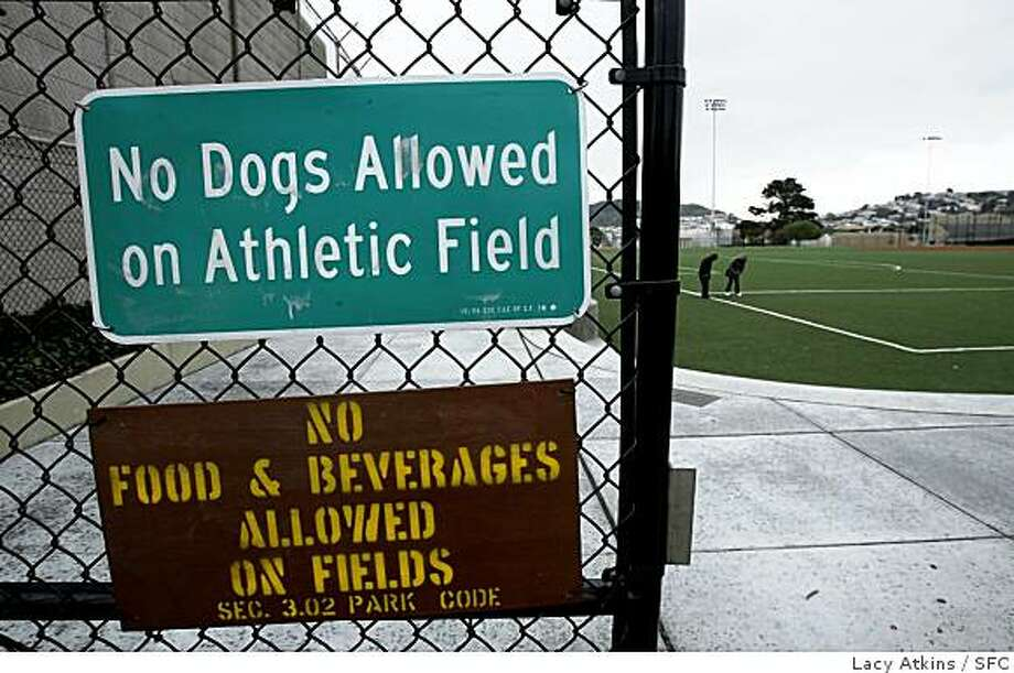 No dogs, food or beverages are allowed on the artificial turf field at the  Silver Terrace Playground at Silver Avenue and Ledyard Street, Thursday January 3, 2008, in San Francisco, Ca. A group of neighbors in Potrero Hill are fighting a plan to install artificial turf at the playfield at their local recreation center, raising concerns that the synthetic material could have negative health and environmental effects.(Lacy Atkins  San Francisco Chronicle) Photo: Lacy Atkins, SFC