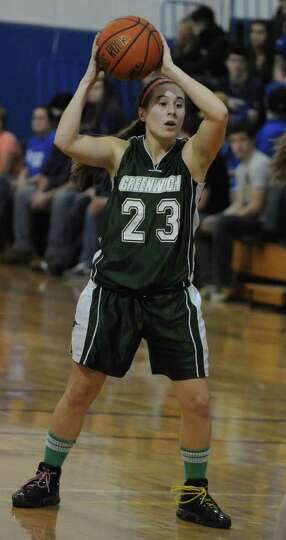 Dani DeGregory of Greenwich looks for an open player during a basketball game against Hoosic Valley