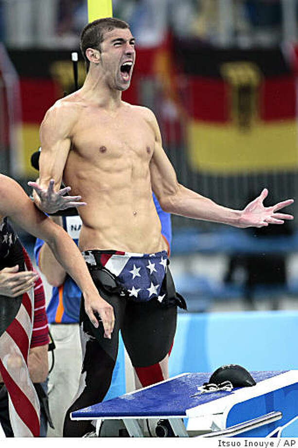 United States' Michael Phelps celebrates as U.S. wins the gold in the men's 4x100-meter freestyle relay during the swimming competitions in the National Aquatics Center at the Beijing 2008 Olympics in Beijing, Monday, Aug. 11, 2008. (AP Photo/Itsuo Inouye) Photo: Itsuo Inouye, AP