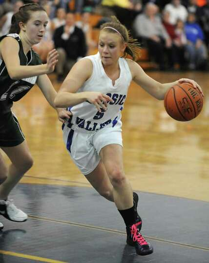 Hoosic Valley's Alicia Lewis drives to the basket during a basketball game against Greenwich on Wedn