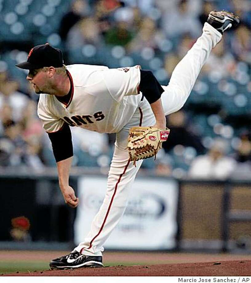 San Francisco Giants pitcher Matt Palmer throws to the Colorado Rockies in the first inning of a baseball game in San Francisco, Tuesday, Aug. 26, 2008. (AP Photo/Marcio Jose Sanchez) Photo: Marcio Jose Sanchez, AP
