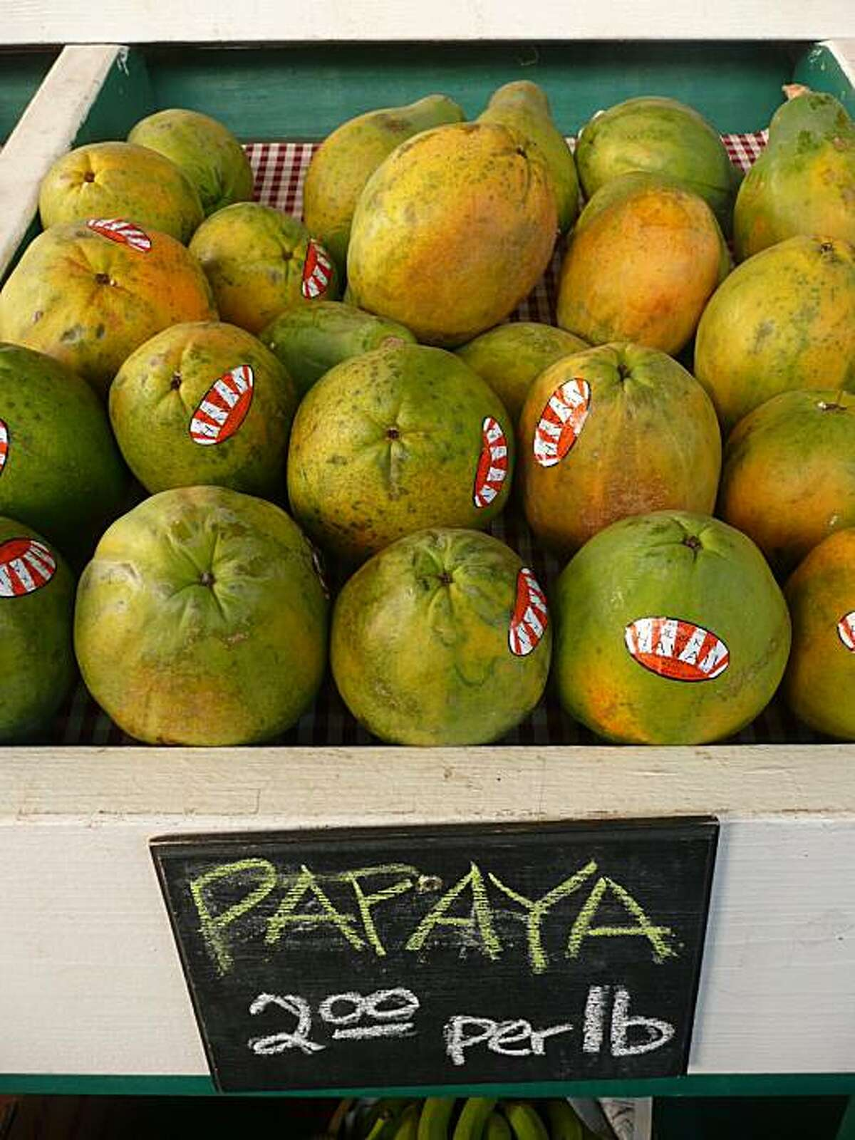 Papayas for sale at Kula Country Farms. John Flinn / Special to The Chronicle 1/10/10