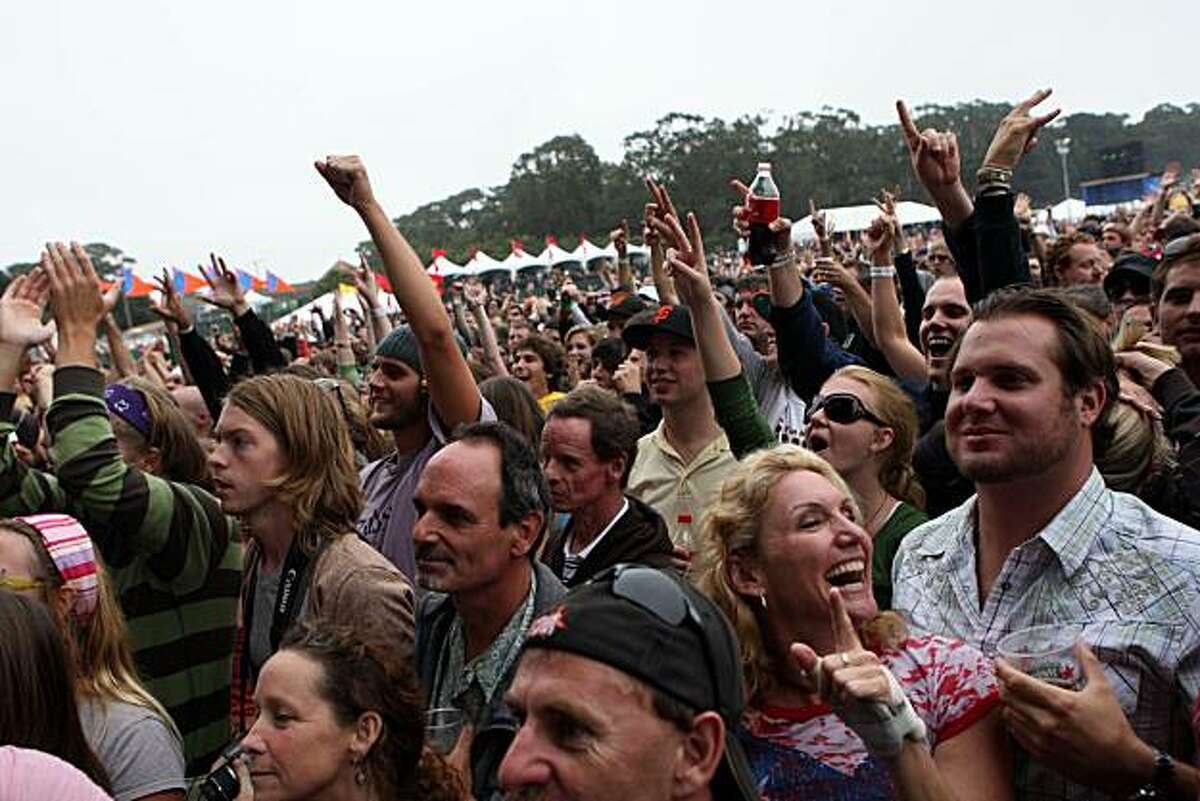 Festival attendees crowd the Lands End stage to watch Ben Harper and the Innocent Criminals perform at the Outside Lands Music and Arts Festival in Golden Gate Park in San Francisco, Calif., on Saturday, August 23, 2008.