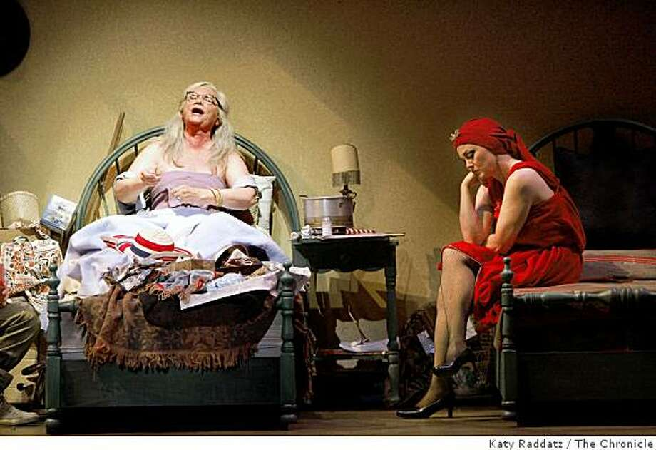 """Beth Glover as """"Little"""" Edie Beale, right, and Dale Soules as Edith Bouvier Beale, left, in Act Two, singing """"Jerry Loves My Corn"""" at the dress rehearsal of """"Grey Gardens"""" at TheatreWorks at the mountain View Center for the Performing Arts in Mt. View, Calif. on Tuesday, August 19, 2008. Photo: Katy Raddatz, The Chronicle"""