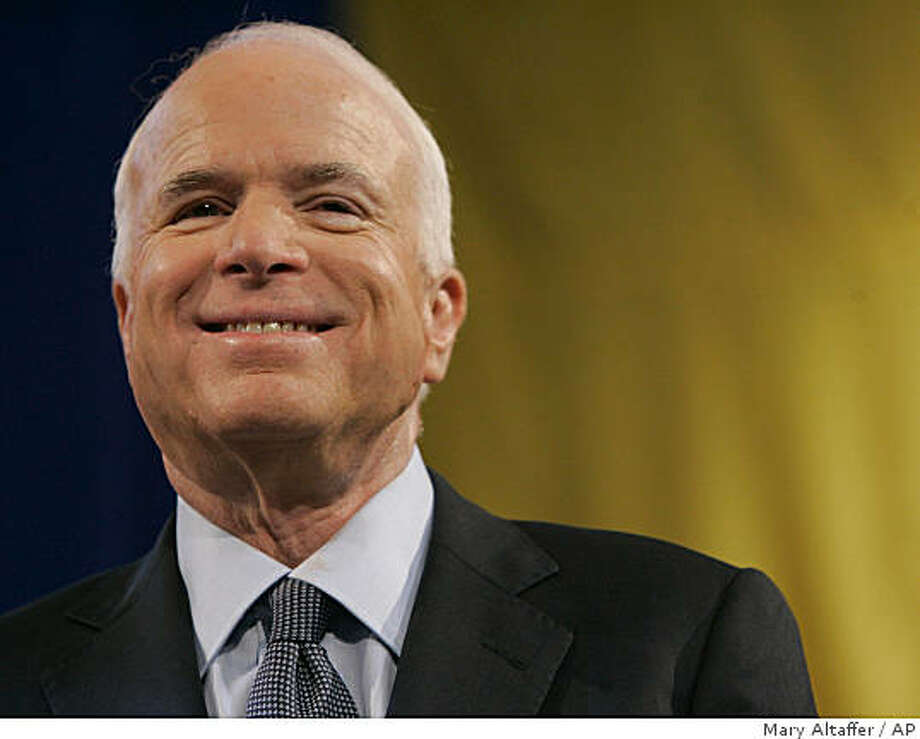 Republican presidential candidate Sen. John McCain, R-Ariz. smiles during a town hall meeting, Wednesday, Aug. 20,2008, at the Pan American Center on the campus of New Mexico State University in Las Cruces, N.M.  (AP Photo/Mary Altaffer) Photo: Mary Altaffer, AP