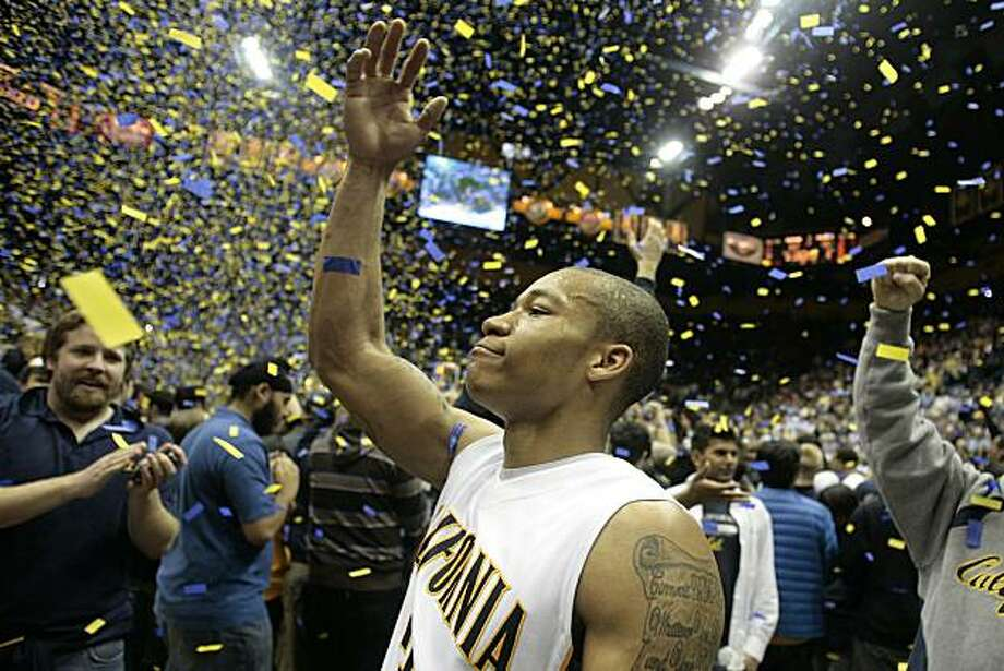 Jerome Randle of Cal celebrates after their win over Arizona State at Haas Pavilion in Berkeley on Saturday. Photo: John Storey, Special To The Chronicle