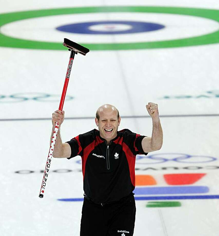 Kevin Martin reacts after his last shot in the men's gold medal curling match against Norway at the Vancouver 2010 Olympics in Vancouver, British Columbia, Saturday, Feb. 27, 2010. Canada won 6-3. Photo: Robert Bukaty, AP
