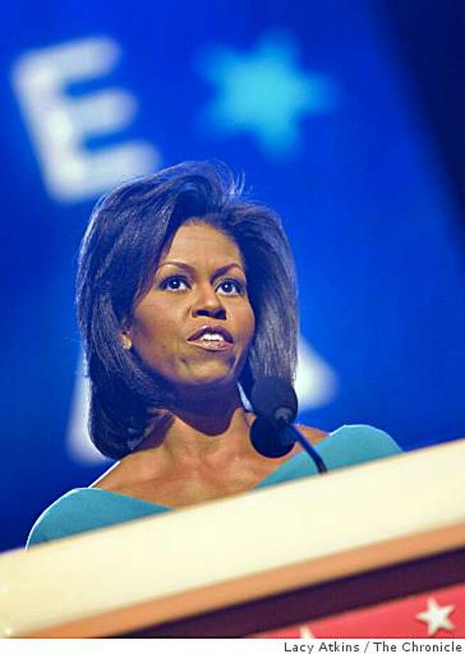Michelle Obama speaks opening night of the Democratic National Convention, Monday Aug. 25, 2008,  in Denver, Colorado. Photo: Lacy Atkins, The Chronicle