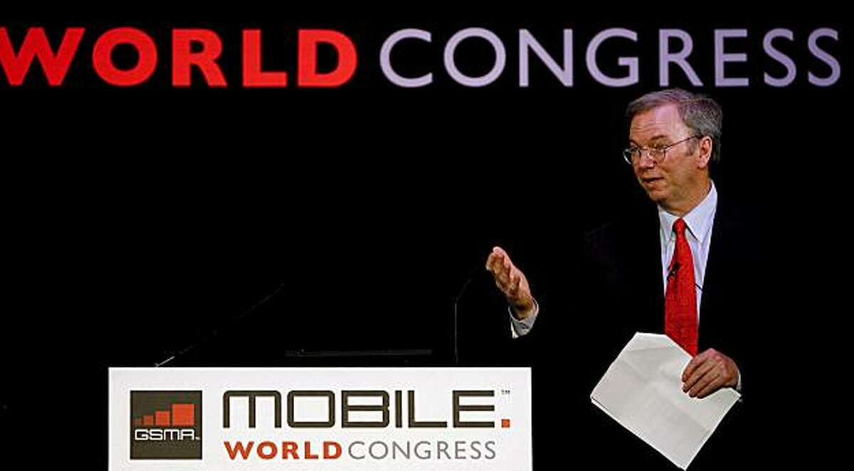 Google Chairman and CEO Dr. Eric Schmidt gives a speech during the Mobile World Congress in Barcelona on February 16, 2010. The 2010 Mobile World Congress is held from February 15 to 18, 2010 in Barcelona.