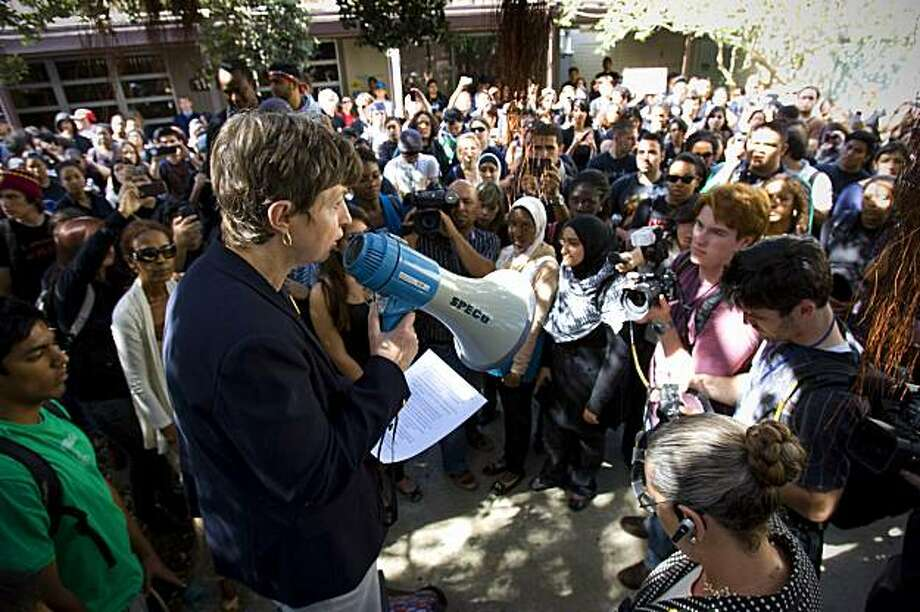 University of California, San Diego Chancellor Marye Anne Fox addresses students, Friday, Feb. 26, 2010 during a rally against racial intolerance after a noose was found dangling from a light fixture on the seventh floor of Geisel Library, Thursday in SanDiego. Photo: Nelvin C. Cepeda, AP