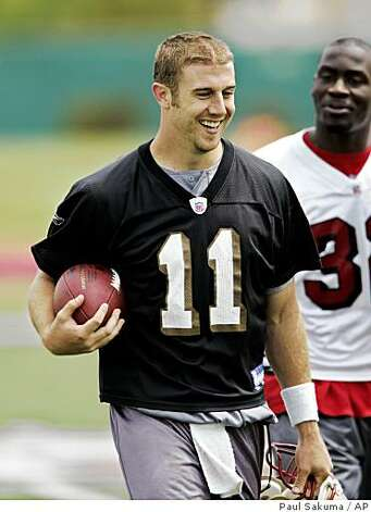 San Francisco 49ers quarterback Alex Smith smiles after football minicamp in Santa Clara, Calif., Friday, May 2, 2008. (AP Photo/Paul Sakuma) Photo: Paul Sakuma, AP