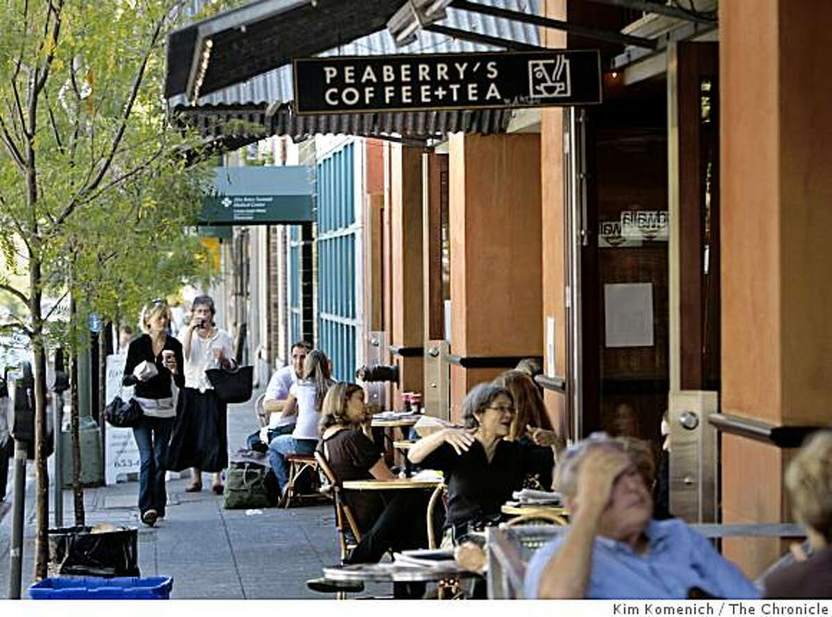 Pedestrians walk along College Avenue in Oakland, Calif's Rockridge district on Wednesday, Aug. 20, 2008. a series of robberies have plagued businesses in the area in wecent weeks.