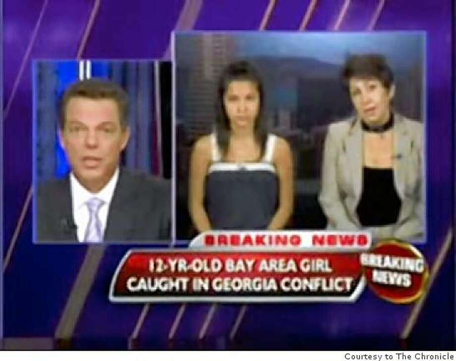 This is a screen shot of Fox News' Shepard Smith interviewing 12-yr old Amanda Kokoeva and her aunt, Laura Tedeeva-Korewiski about the conflict in Georgia. Photo: Courtesy To The Chronicle