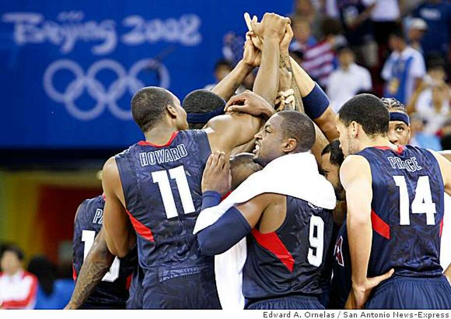 Members of the USA mens basketball team celebrate after defeating Argentina 101-81 during a semifinal game at the 2008 Beijing Olympics Friday Aug 22, 2008 in Beijing, China. Photo: Edward A. Ornelas, San Antonio News-Express