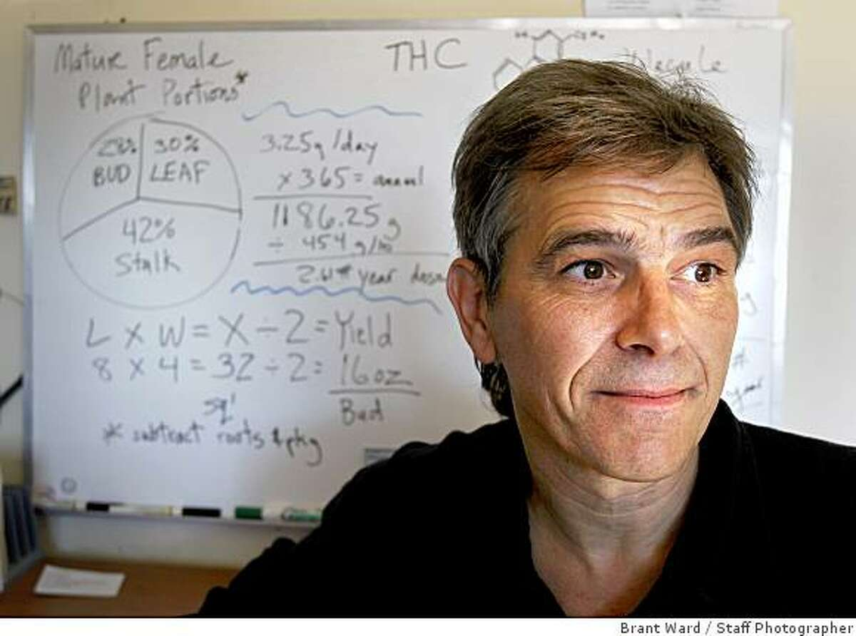 Chris Conrad , a cannabis expert, who makes his living using algebra in court cases to contradict police evidence. He is photographed at his East Bay home in his office Tuesday, August 19, 2008.
