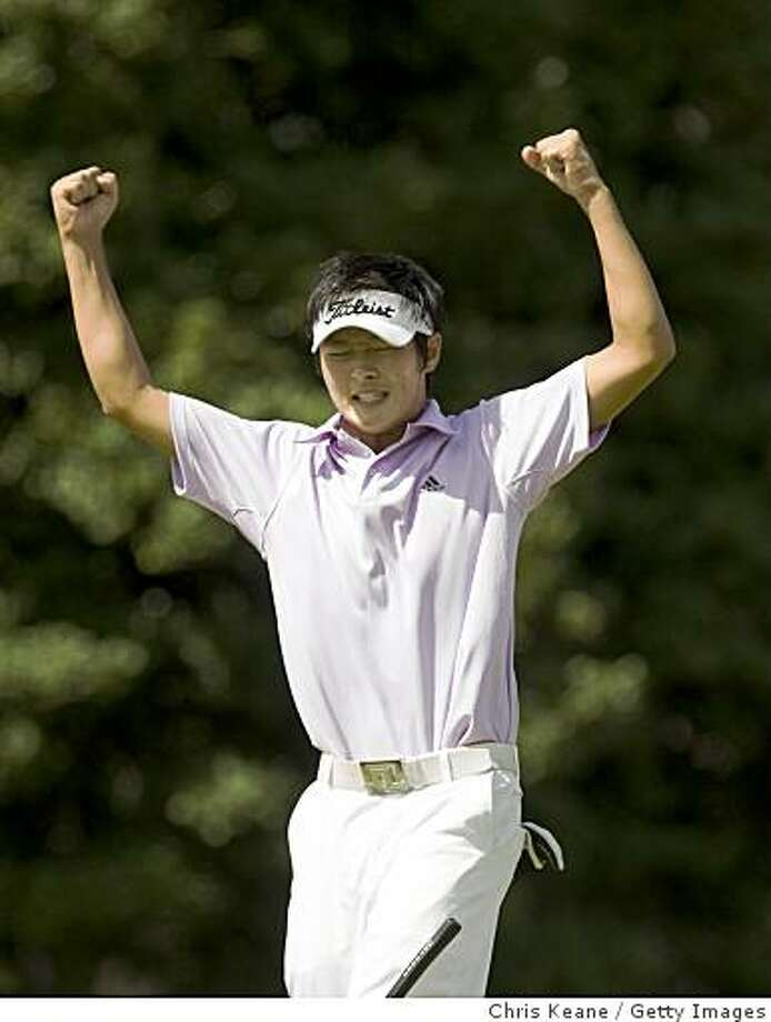 PINEHURST, NC - AUGUST 24: Danny Lee of New Zealand celebrates after making his final putt on the 14th hole to win during the final round of the U.S. Amateur Championship at Pinehurst Resort & Country Club August 24, 2008 in Pinehurst, North Carolina. (Photo by Chris Keane/Getty Images) Photo: Chris Keane, Getty Images