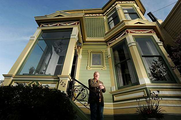 Michael Shannon stands outside his San Francisco Victorian on Saturday, Feb. 13, 2010. The house, one of the famous row of Painted Ladies, is for sale. Photo: Noah Berger, Special To The Chronicle