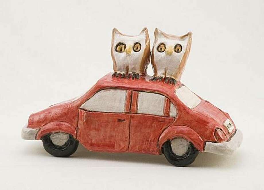 """Nina Koepcke  juxtaposes nature, human artifacts, and a hefty dose of whimsy in her clay sculptures, such as in """"Toot Toot for Hoots."""" Photo: Main Gallery"""
