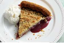 Concord grape pie in San Francisco, Calif., on August 15, 2008. Food styled by Audrey Sherman.