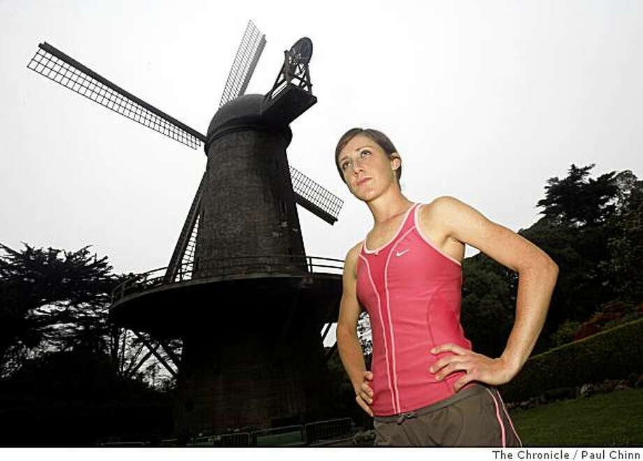 Shannon Rowbury visits the Dutch windmill before running at Golden Gate Park in San Francisco, Calif., on Friday, June 13, 2008. Photo: Paul Chinn, The Chronicle