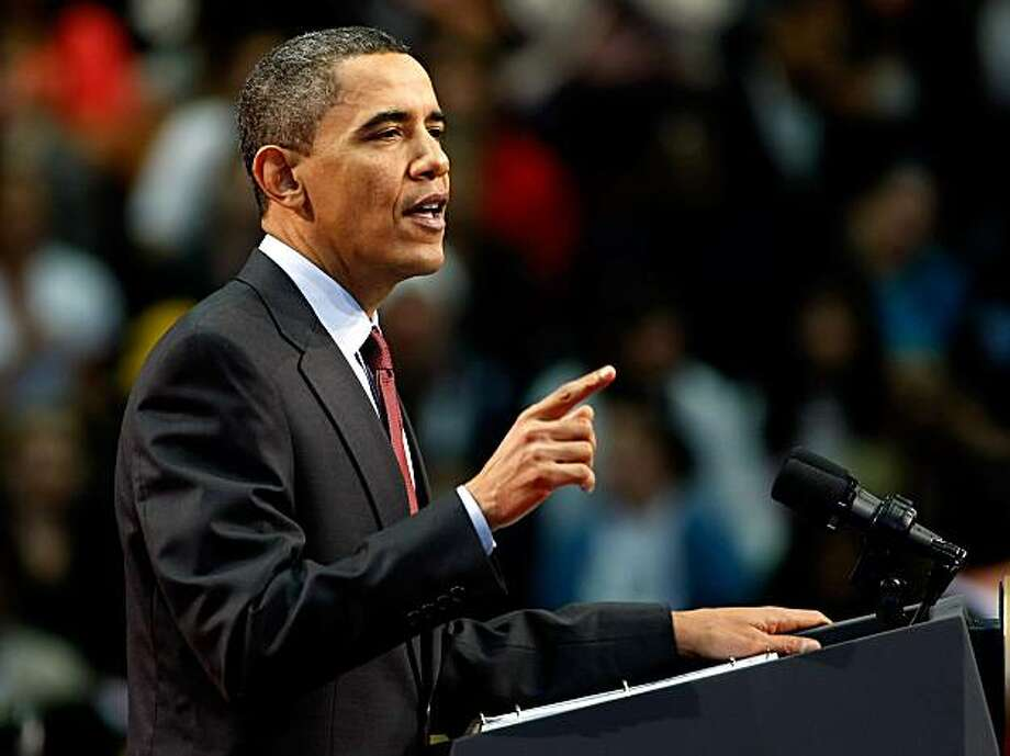 HENDERSON, NV - FEBRUARY 19:  U.S. President Barack Obama speaks during a town hall meeting at Green Valley High School February 19, 2010 in Henderson, Nevada. Obama announced USD 1.5 billion in funding for housing finance agencies to help the five hardest-hit states: Arizona, California, Florida, Michigan and Nevada. Photo: Ethan Miller, Getty Images