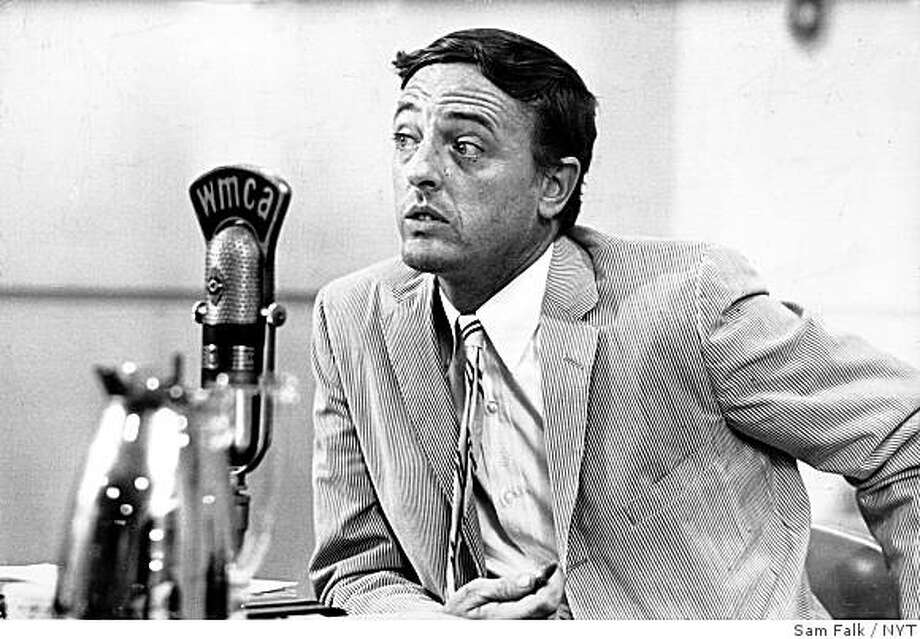 (NYT29) NEW YORK -- Feb. 27, 2008 -- OBIT-BUCKLEY-14 -- William F. Buckley in a radio studio in New York during a debate when he was a candidate for city mayor in 1965. Buckley was debating Paul O'Dwyer during the Barry Gray Radio Show on WMCA. John Lindsay won and served two terms. Buckley, who became famous for his intellectual political writings in the magazine, died Wednesday, Feb. 27, 2008 at the age of 82. (Sam Falk/The New York Times) Photo: Sam Falk, NYT