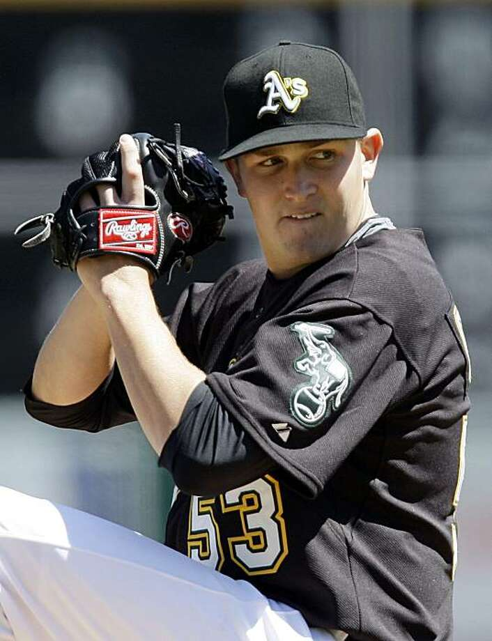 Oakland Athletics' Trevor Cahill works against the Seattle Mariners in the first inning of a baseball game Sunday, April 12, 2009, in Oakland, Calif. (AP Photo/Ben Margot) Photo: Ben Margot, AP