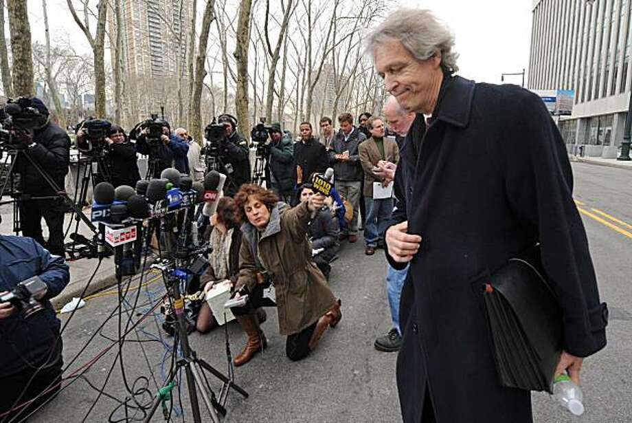 Attorney William Stampur, who is representing for terrorism suspect Najibullah Zazi, speaks to the media outside Brooklyn federal court, Monday, Feb. 22, 2010, in New York. The terrorism suspect and former Denver Airport shuttle driver pleaded guilty to conspiracy to use weapons of mass destruction, conspiracy to commit murder in a foreign country and providing material support for a terrorist organization. Photo: Louis Lanzano, AP