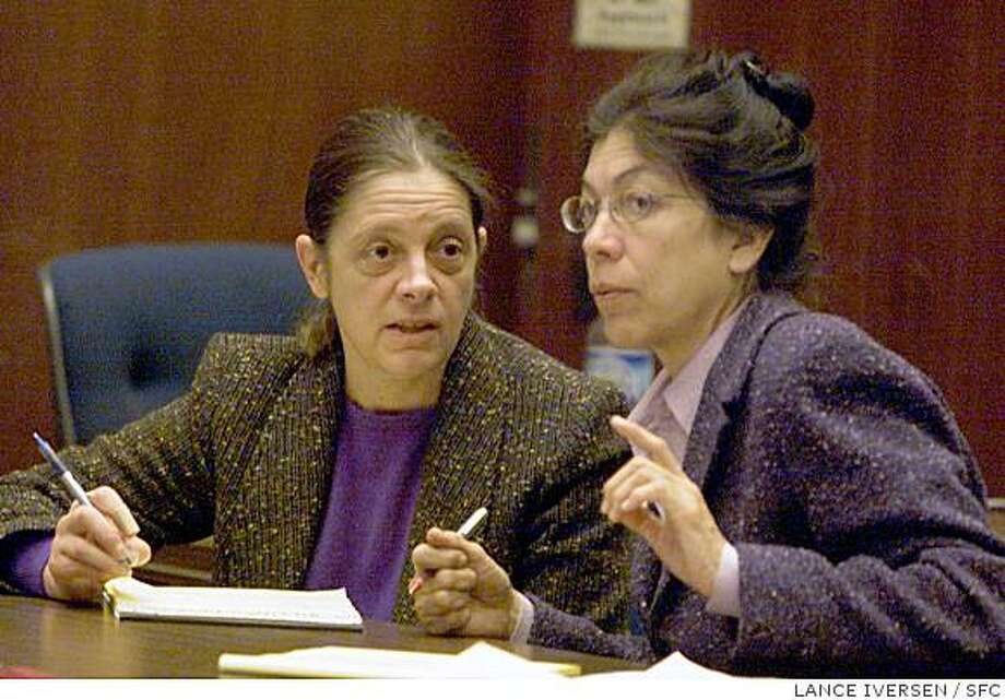 DOGTRAILC-C-19MAR02-MN-LI Defendant Marjorie Knoller, left, confers with her attorney Nedra Ruiz during the prosecution's closing rebuttal arguments in a courtroom in Los Angeles, Tuesday, March 19, 2002, before the jury began deliberations in the trial of Knoller and her husband Robert Noel, charged in the dog mauling death of a neighb Photo: LANCE IVERSEN, SFC