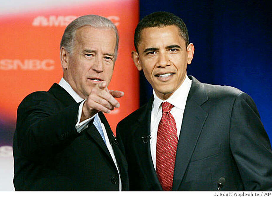 Sen. Joe Biden, D-Del., left, talks with Sen. Barack Obama, D-Ill., prior to the start of the first Democratic presidential primary debate of the 2008 election hosted by the South Carolina State University in Orangeburg, SC.,  in this April 26, 2007 file photo. Photo: J. Scott Applewhite, AP