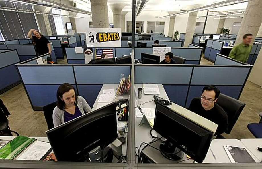 "Nathalie Jans, (left)  and Raymond Won,(right) are two of the 40-person company, EBates in San Francisco, Calif., on Tuesday Feb. 23, 2010. If the State of California passes a new bill designed to collect sales-tax revenue fron Amazon.com, it is believed that it  will stop doing business with companies like EBates and other so-called ""affiliates."" Photo: Michael Macor, The Chronicle"