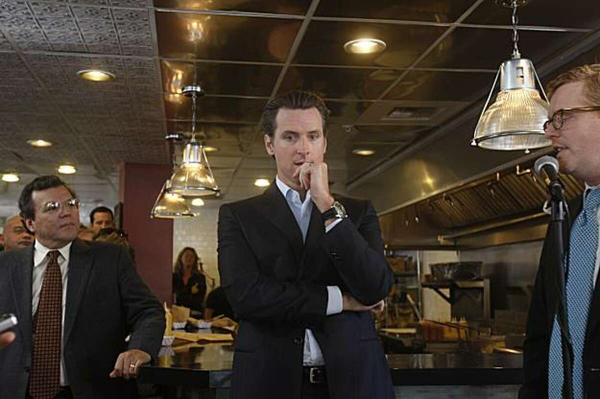 Mayor Gavin Newsom announces the Central Market Partnership to revitalize the Central Market neighborhood during a press conference at Show Dogs in San Francisco, Calif. on Thursday, January 14, 2010.