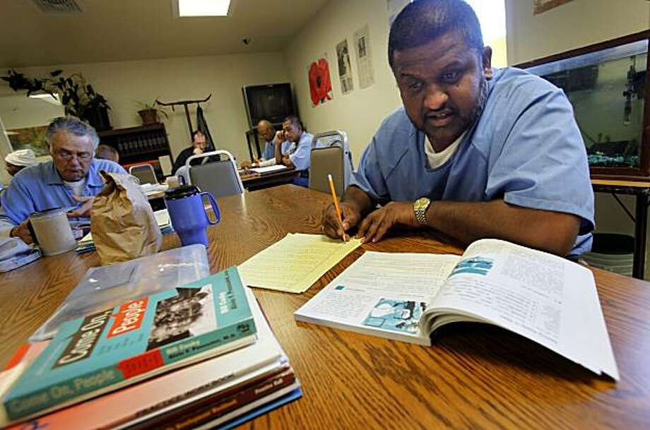 Inmate Stephen Pascascio, who is studying for his GED, credits his education class at San Quentin for learning how to read. He and others worked on a variety of subjects Tuesday February 9, 2010.  A new California law aimed at cutting prison spending includes the cutting of education and vocational spending at San Quentin (Marin County) and other state prisons. Photo: Brant Ward, The Chronicle