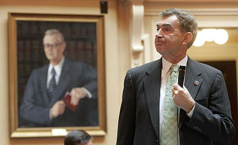 State Sen. Emmett Hanger, R-Augusta, listens to a question during a debate on his bill allowing guns in restaurants at the Capitol in Richmond, Va., Tuesday, Feb. 16, 2010.  The senate passed the legislation. Photo: Steve Helber, AP